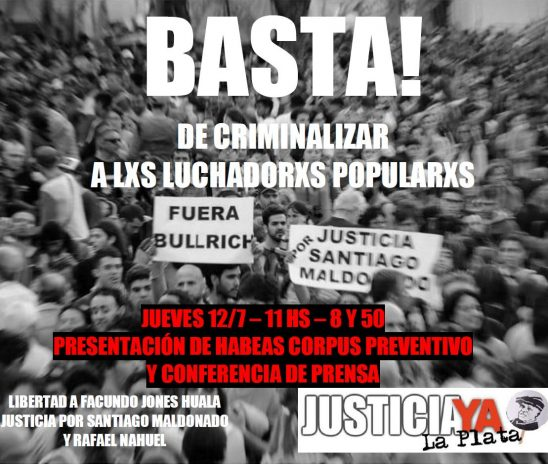 Presentación de Habeas Corpus preventivo contra la persecución de la ministra Bullrich